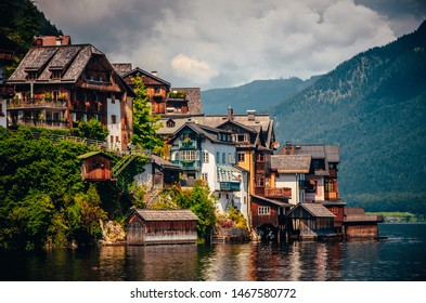 Hallstatt, Austria  houses and famous lake