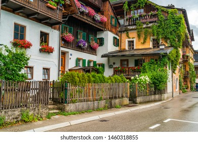 HALLSTATT, AUSTRIA - JULY 08 2019:Hallstatt, a town on Hallstatter Lake in Salzkammergut region was declared World Heritage Site in 1997. It's known for production of salt dating back to ancient times