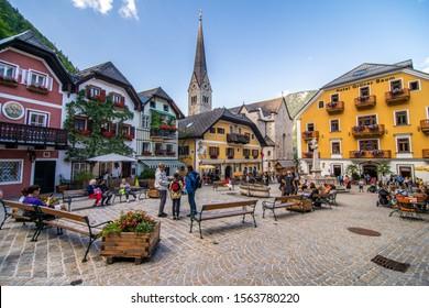 HALLSTATT, AUSTRIA - July, 2019: Town square in Hallstatt, Austria. Hallstatt is historical village located in Austrian Alps at the Hallstatter lake
