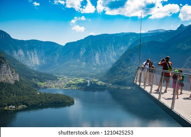 HALLSTATT, AUSTRIA - JULY 23, 2015: Hallstatt View Point at the Salt Mine in Austria Salzkammergut region.