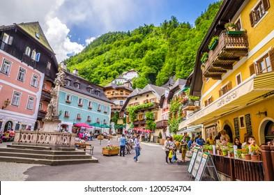 HALLSTATT, AUSTRIA, June 18, 2016: Beautiful architecture of Hallstatt village, Austrian Alps,  Salzkammergut, Austria, Europe