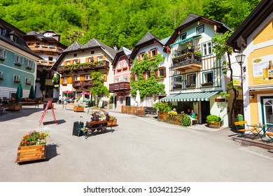 HALLSTATT, AUSTRIA - MAY 16, 2017: Beauty houses in Hallstatt old town, Upper Austria. Hallstatt is a village in the Salzkammergut region near Salzburg in Austria.