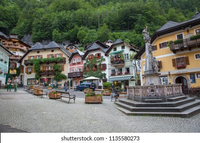 HALLSTATT, AUSTRIA - MAY 16, 2017: Beauty houses in Hallstatt old town, Upper Austria. Hallstatt is a village in the Salzkammergut region near Salzburg in Austria.