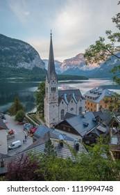 HALLSTATT, AUSTRIA : MAY 27, 2018 - The Hallstatt Evangelical Church in Hallstatt village in Austria.