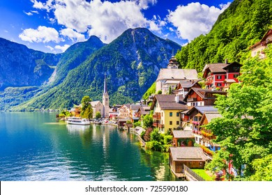 Hallstatt, Austria. Mountain village in the Austrian Alps.