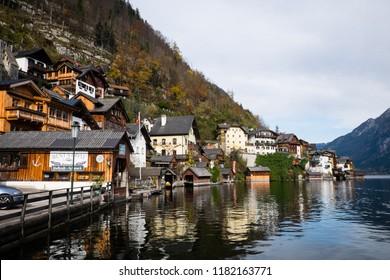 Hallstatt, Austria - November 5, 2017: Picturesque village of Hallstatt in Austria, a World Heritage Site, is one of the most popular tourist attractions in Austria.