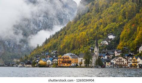Hallstatt, Austria - Oct 25, 2018. Beautiful Hallstatt Village of Austria. Hallstatt is a charming lakeside village in the Alps.