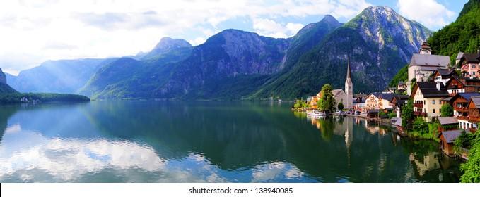 Hallstatt, Austria panoramic view with Alps and lake
