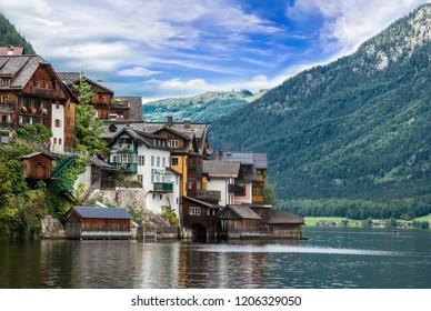Hallstatt, Austria. scenic postcard view of Hallstatt Mountain village in the Austrian Alps in summertime