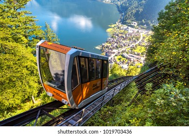 HALLSTATT, AUSTRIA - SEPTEMBER 14, 2016 : Cable railway between Hallstatt and Salzberg peak in Austria Salzkammergut mountains.