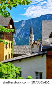 Hallstatt Austria Traditional Houses And Old Roofs With View To Mountains Broach Of