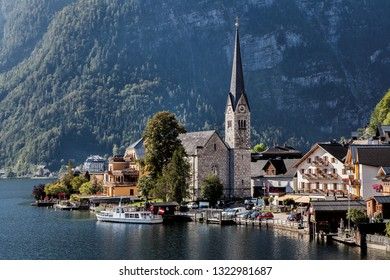 HALLSTATT, AUSTRIA-SEP 11, 2018: Panorama of Hallstatt is a small town in the district of Gmunden, in the Austrian state of Upper Austria. World Heritage Sites in Austria by UNESCO in 1997.