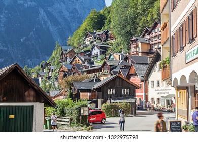 HALLSTATT, AUSTRIA-SEP 11, 2018: Hallstatt is a small town in the district of Gmunden, in the Austrian state of Upper Austria.