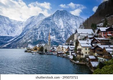 Hallstatt by Salzburg, Austria, traditional austrian wood village, UNESCO world culture heritage site