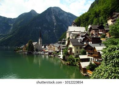 Hallstatt houses above the lake