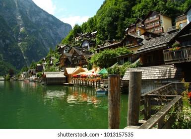 Hallstatt houses above the water