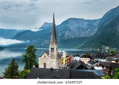 Hallstatt idyllic church, in the Alps Austria