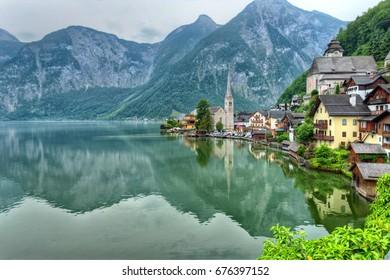 Hallstatt idyllic mountain town, in the Alps Austria
