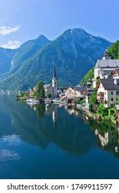Hallstatt lake in Alps,wooden houses, lake view,Alps, Austria, Europe