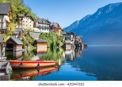 Hallstatt with lake and boat, Salzkammergut, Upper Austria