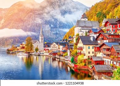 Hallstatt Lake Town in Austria's mountainous Salzkammergut region, High Alps parkland. Picturesque landscape of Great Alpine nature. Hallstatt is famous romantic European UNESCO travel destination.