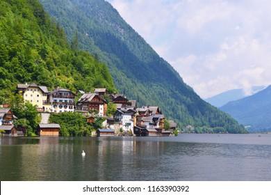 Hallstatt mountain village on Hallstaetter Lake in the Austrian Alps, region of Salzkammergut, Austria