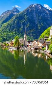 Hallstatt old town and Hallstatter See lake in Upper Austria. Hallstatt is a village in the Salzkammergut region near Salzburg in Austria.
