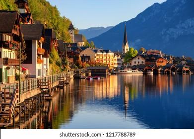 Hallstatt scenic wooden village on Lake Hallstatt in european Alps, Austria, in the morning light. Hallstatt is UNESCO World Culture Heritage site.