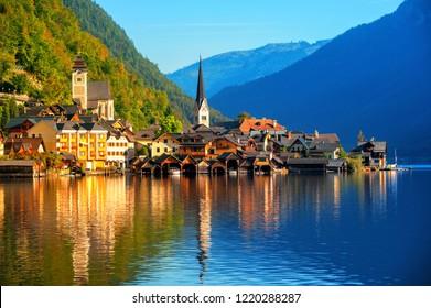 Hallstatt traditional austrian wooden village on Lake Hallstatt in Alps mountains, Austria, in the morning light. Hallstatt is UNESCO World Culture Heritage site.