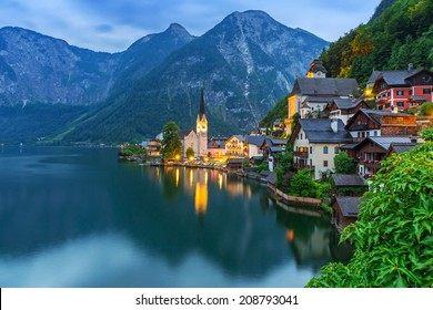 Hallstatt village in Alps at dusk, Austria
