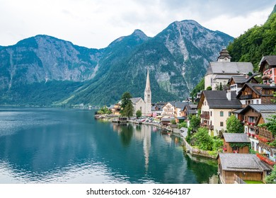 Hallstatt village in Alps at dusk, Austria