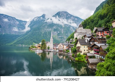 Hallstatt village with clouds, World Heritage, Hallstatt mountain village in the Austrian Alps at beautiful light in Winter, Hallstatt, Austria