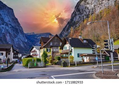 Hallstatt village mountain side sunset