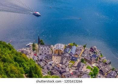 Hallstatt village near Lake Hallstatt's western shore in Austria's mountainous Salzkammergut region