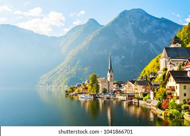 Hallstatt village on Hallstatter lake in Austrian Alps