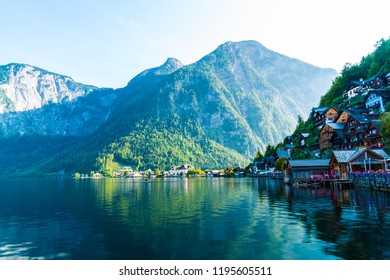 Hallstatt village on Hallstatter lake in Austrian Alps, Salzkammergut region, Hallstatt, Austria