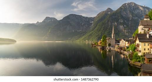 Hallstatt village on Hallstatter lake in Austrian Alps, Wonderful autumn day in Hallstatt the Unesco World Heritage and one of the most beautiful village in the world