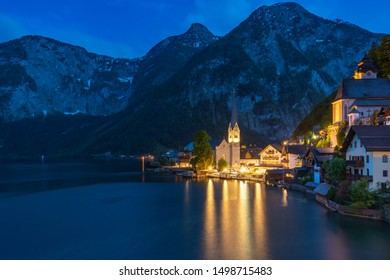 Hallstatt village on Hallstatter lake in Austrian Alps, Wonderful autumn day in Hallstatt the Unesco World Heritage and one of the most beautiful village in the world at night