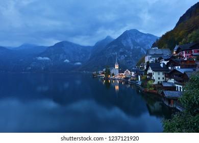 Hallstatt is a village on Lake Hallstatt's western shore, Austria