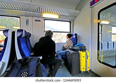 HALLSTATT-AUSTRIA-OCTOBER 30 :  The traveller on the highspeed train in Austia, October 30, 2016, Hallstatt, Austria.