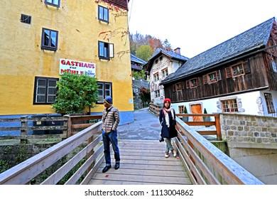 HALLSTATT-AUSTRIA-OCTOBER 30 : View of Hallstatt Town. The best beautiful town on the lake, October 30, 2016, Hallstatt, Austria