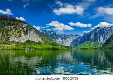 Hallstatter See mountain lake in Austria. Salzkammergut region, Austria