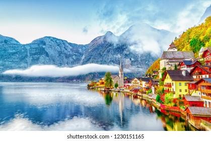 Hallstatter See on Lake Town Hallstatt in Austria Alpine mountains. High Alps parkland. Picturesque landscape of Great Austrian Tirol nature. Seasonal autumn scene.