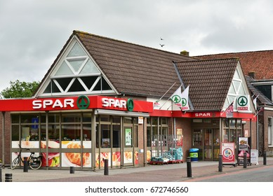 HALLUM, THE NETHERLANDS - JUNE 12, 2017: SPAR supermarket storefront. Spar is a Dutch multinational retail chain operates as independent or franchise in 35 countries worldwide.