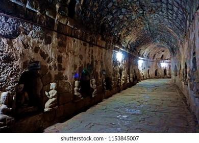 hallway in ancient Htukkhanthein temple, Mrauk U, Rakhine State, Myanmar
