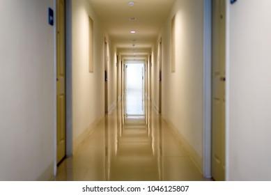 hallway in apartment , door rooms in dorm