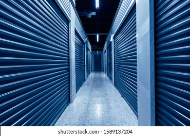 Hallway with blue storage units. Blue phantom colors