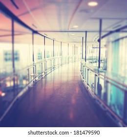 Hallway in Building with glass - instagram effect