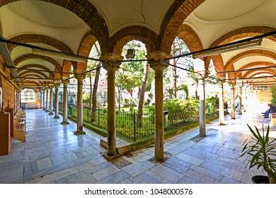 Hallway, corridor, mescid, Food Bank in Garden with Trees, Muslim