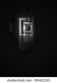 A hallway in a frightening school building within horror, darkness, and Halloween background ideas.
